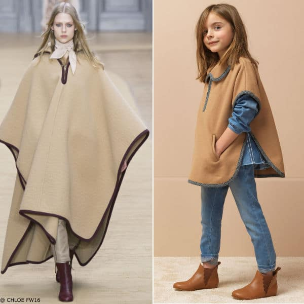 CHLOE Girl Mini Me Brown Wool Poncho