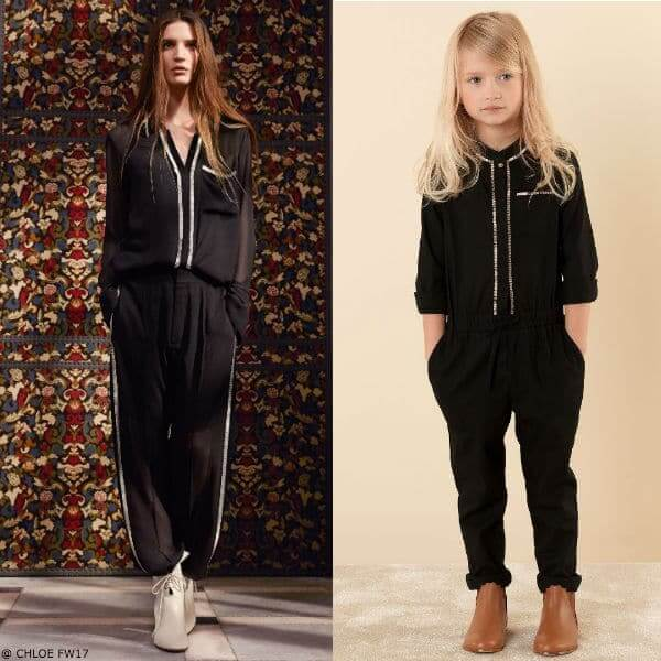 CHLOÉ Girls Mini Me Black Beaded Jumpsuit