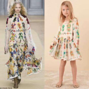 CHLOE Girls Mini Me Girls Multi Colored Printed Silk Dress