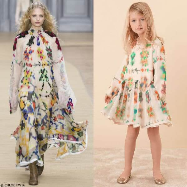 CHLOE Girls Mini Me Girls Multi Colored Printed Silk Dress