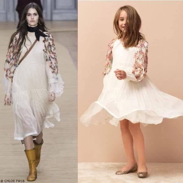 CHLOE Girls Mini Me Hippie Style White Silk Dress