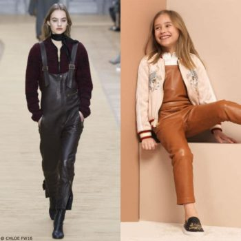 CHLOÉ Girls Mini Me Leather Overalls & Reversible Pink Bomber Jacket
