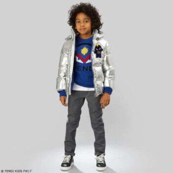 FENDI Boys Blue Wool Bug-Kun Sweater