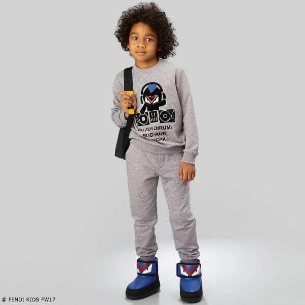 FENDI Boys Grey 'Bug-Kun' Sweatshirt and Pants