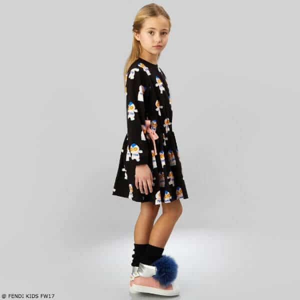 FENDI Girls Fendirumi Piro-Chan Black Dress