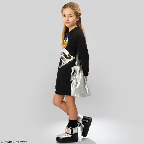 FENDI Girls Fendirumi Piro-Chan Black DJ Dress