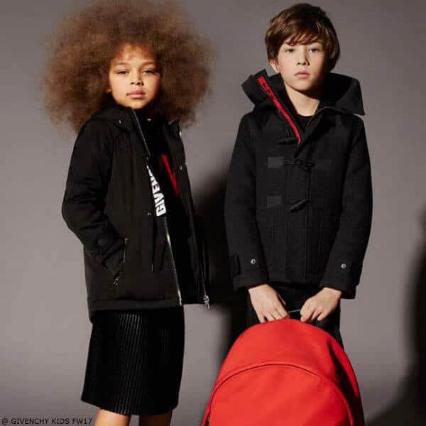 GIVENCHY KIDS Grey Wool Duffle Coat