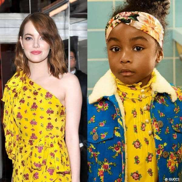GUCCI Emma Stone Mini Me Girls Yellow Floral Silk Dress