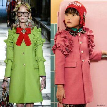 GUCCI Girls Mini Me Pink Wool Coat Milan Fashion Week Resort 2017