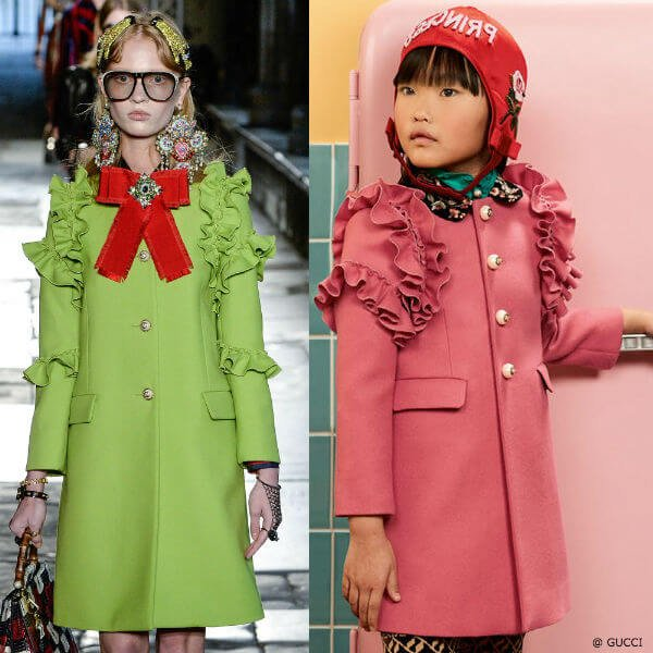 GUCCI Girls Mini Me Pink Wool Coat Milan Fashion Week Resort 2017