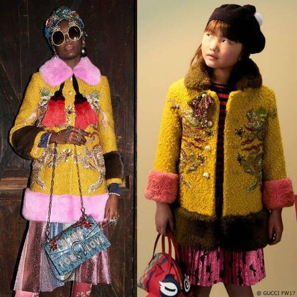 GUCCI Girls Mini Me Yellow Astrakhan Dragon Coat
