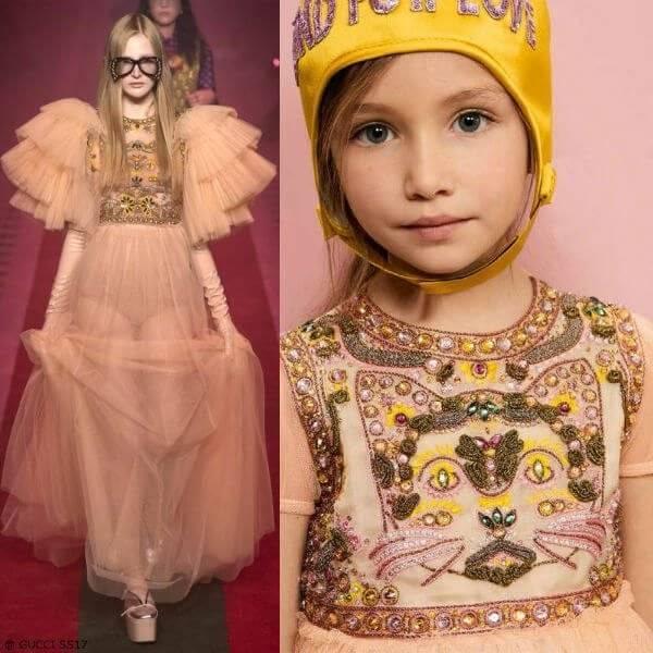 GUCCI Mini Me Girls Apricot Tulle Cat Dress