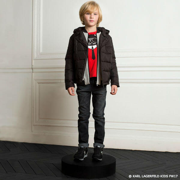 KARL LAGERFELD KIDS Boys Black Padded Jacket Red Bad Boy Tshirt