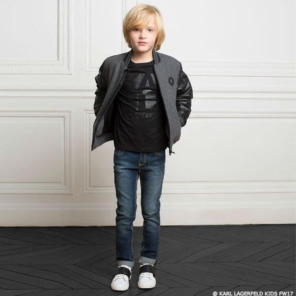 KARL LAGERFELD KIDS Boys Grey Wool Varsity Jacket