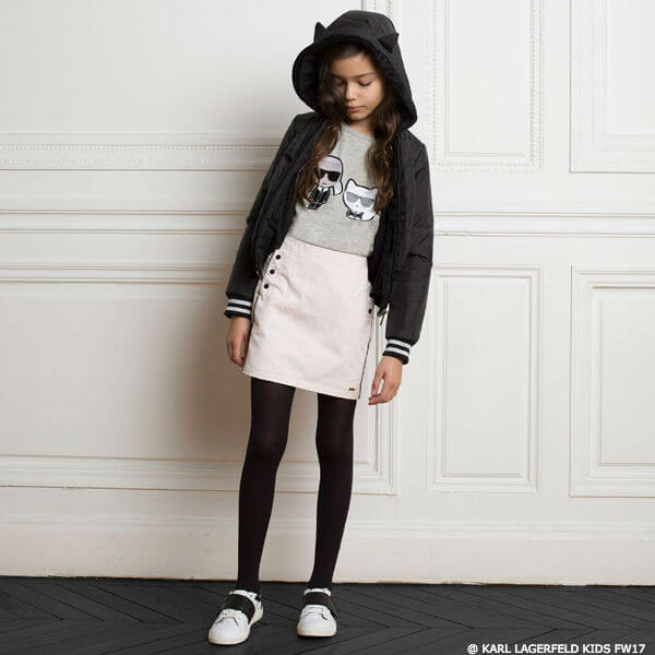 KARL LAGERFELD KIDS Girls Mini Me Black Cat Ear Jacket