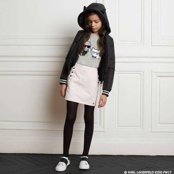 KARL LAGERFELD KIDS Girls Mini Me Black Cat Ear Jacket