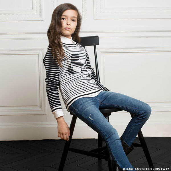 KARL LAGERFELD KIDS Girls Mini Me Striped Sweater