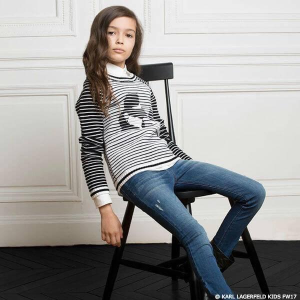 KARL LAGERFELD KIDS Girls Mini Me Striped Sweater