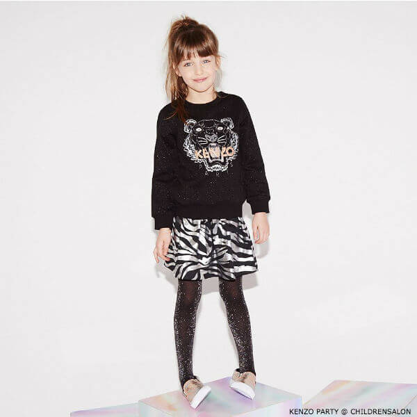 KENZO KIDS EXCLUSIVE EDITION Black Glitter Party Girl Tiger Sweatshirt & Dress