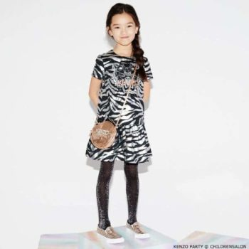 KENZO KIDS EXCLUSIVE EDITION Silver Tiger Print Dress