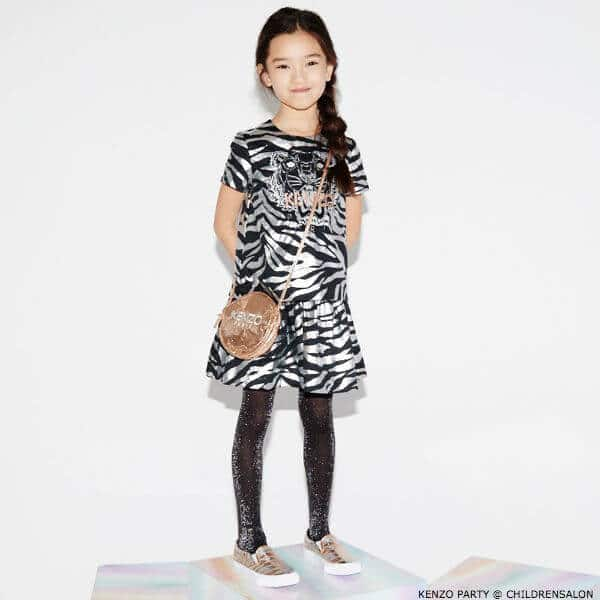 KENZO KIDS EXCLUSIVE EDITION Silver Tiger Print Party Girl Dress