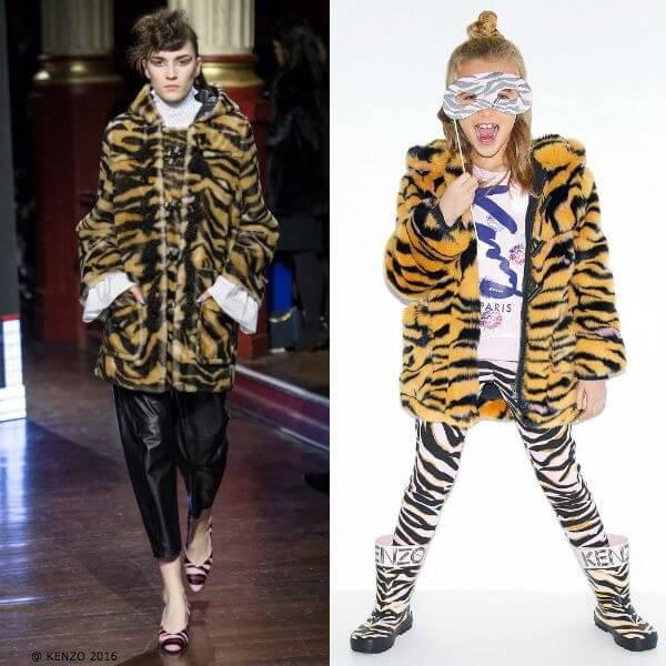 Kenzo Kids Mini Me Girls Tiger Striped Faux Fur Coat