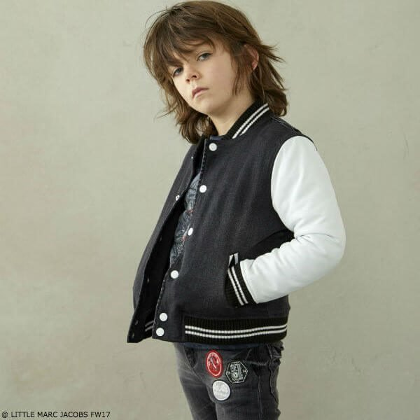 LITTLE MARC JACOBS Boys Black & White Bomber Jacket