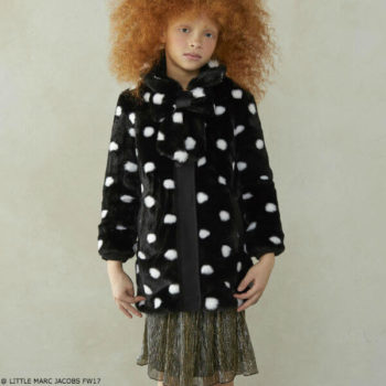 LITTLE MARC JACOBS Girls Black & White Spotted Fur Coat