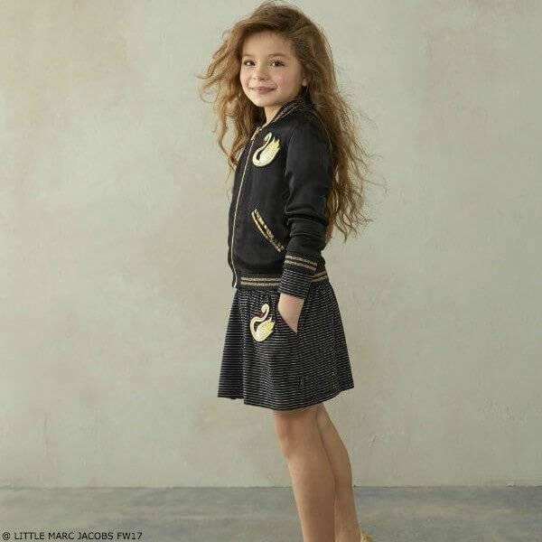 Little Marc Jacobs Girls Swan Jacket & Skirt