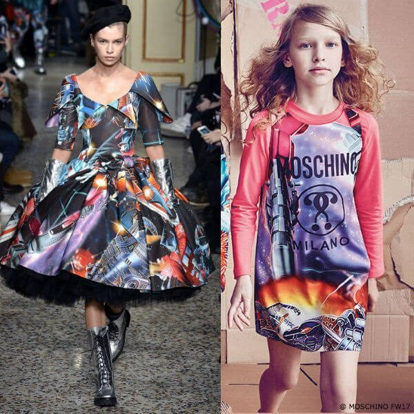 Moschino Girls Mini Me Transformers Multicolor Dress FW17