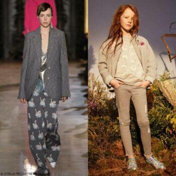 Stella McCartney Girls Mini Me Dusty Gray Swan Patch Bomber Jacket & Betty Swan Sweatshirt