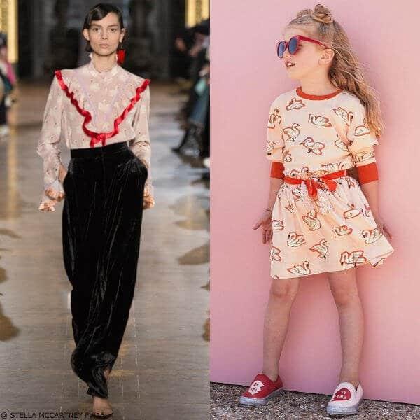 Stella McCartney Girls Mini Me Swan Pink Red Irma Top & Myrtle Skirt