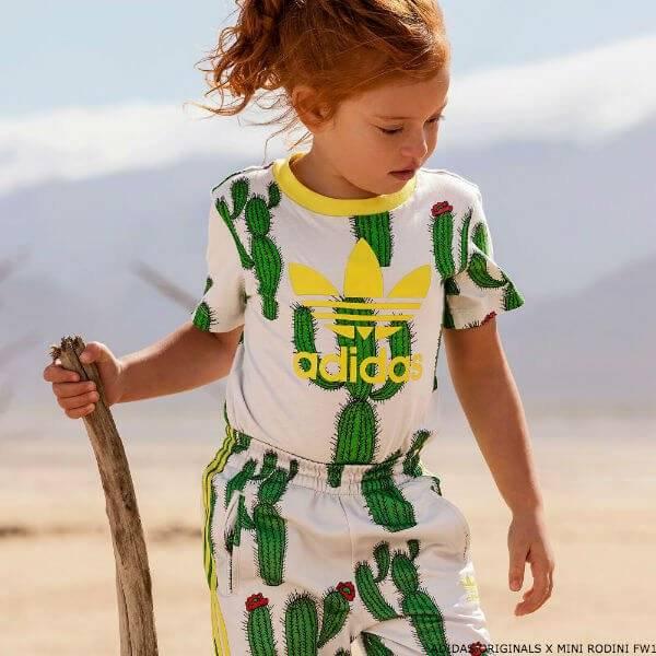ADIDAS ORIGINALS X MINI RODINI Grey Green Cactus Print T-Shirt