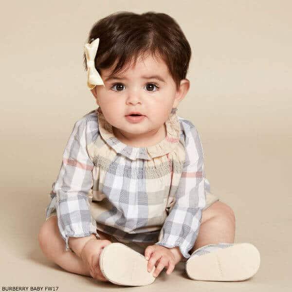 BURBERRY Baby Girls Beige Check Dress