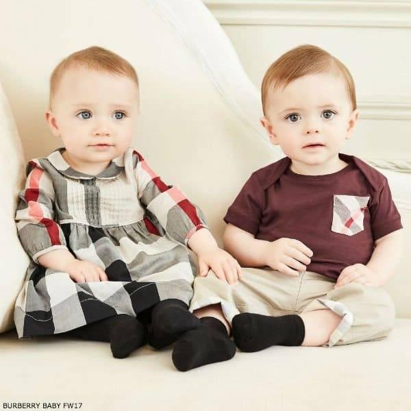 BURBERRY Baby Girls Beige Check Dress & Baby Boys Burgundy T-Shirt