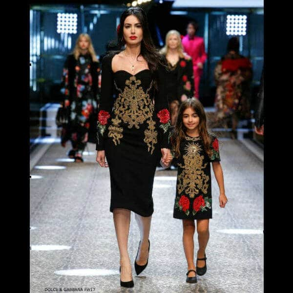 DOLCE & GABBANA GIRLS MINI ME RUNWAY BLACK EMBELLISHED ROSE DRESS