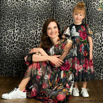 DOLCE & GABBANA Girls Mini Me Cagnolini Puppy Pink & Black Maxi Dress