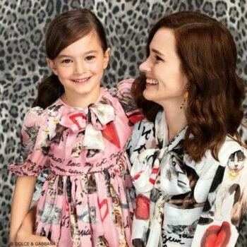 DOLCE & GABBANA Girls Mini Me Pink Cat Silk Dress