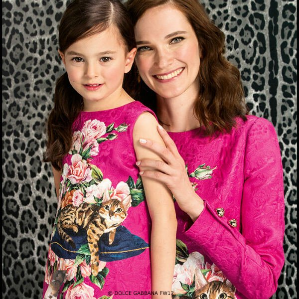 DOLCE & GABBANA Girls Mini Me Pink Zambia Cat Brocade Dress