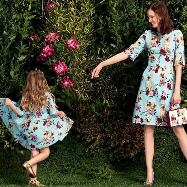 DOLCE & GABBANA Girls Mini Me Blue Silk Cani e Rose Mimo Dog Dress