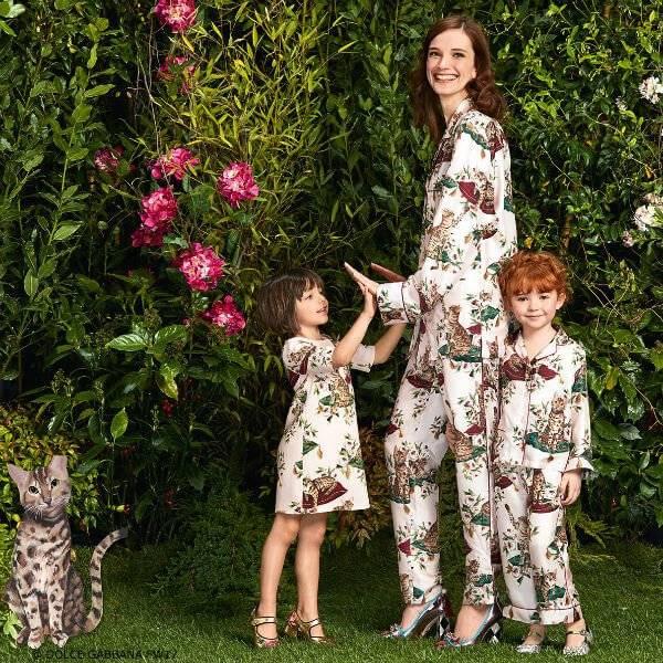 DOLCE & GABBANA Girls Mini Me Zambia Rose Print Dress & Pantsuit