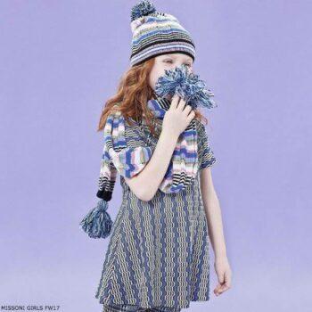 MISSONI Girls Blue Zigzag Dress Scarf & Hat