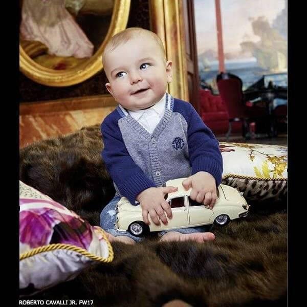 ROBERTO CAVALLI Baby Boys Grey Cardigan & Jeans