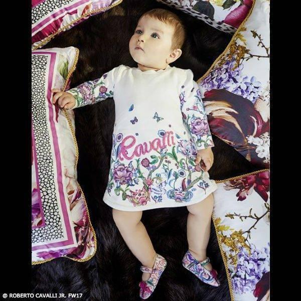 ROBERTO CAVALLI Baby Girls Mini Me Ivory Floral Dress FW17