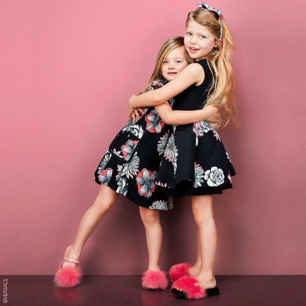 YOUNG VERSACE Girls Black & Pink Floral Dress