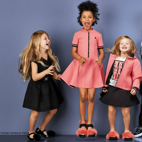 YOUNG VERSACE Girls Pink Neoprene Party Dress