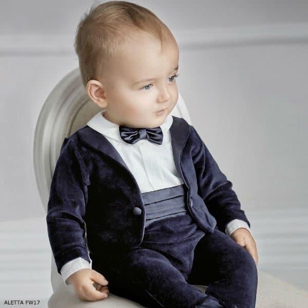 ALETTA Baby Boys Blue Evening Suit Romper