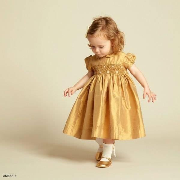 ANNAFIE Girls Hand-Smocked Gold Silk Dress