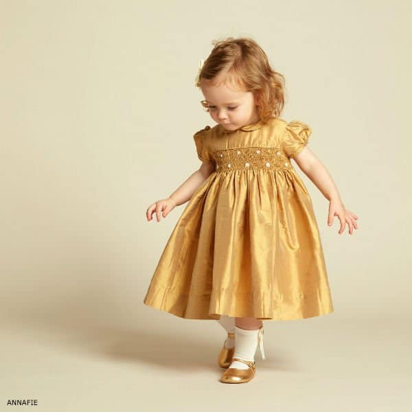 ANNAFIE Girls Hand-Smocked Gold Silk Dress