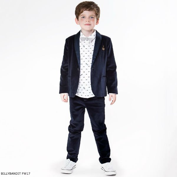 BILLYBANDIT Boys Blue Velvet Suit